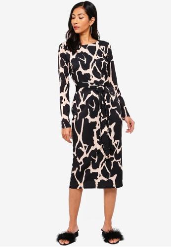 ea71a7499ce1 Buy Wallis Black Animal Print Jersey Midi Pencil Dress Online on ZALORA  Singapore