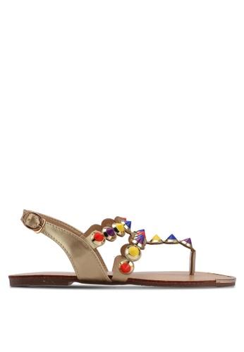 Mimosa gold Metallic Stud Sandals D3146SH34F627EGS_1