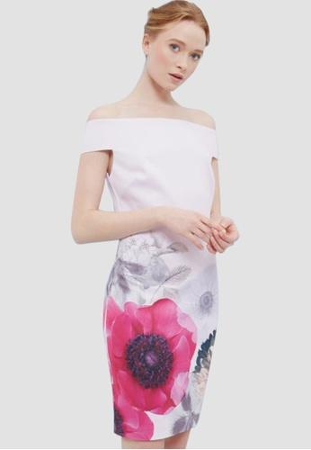 Miss M multi Off Shoulder Floral Bodycon Dress 523B1AA5EA133EGS_1