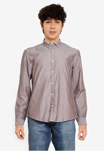 Springfield brown Pinpoint Shirt 91057AA19B35FAGS_1