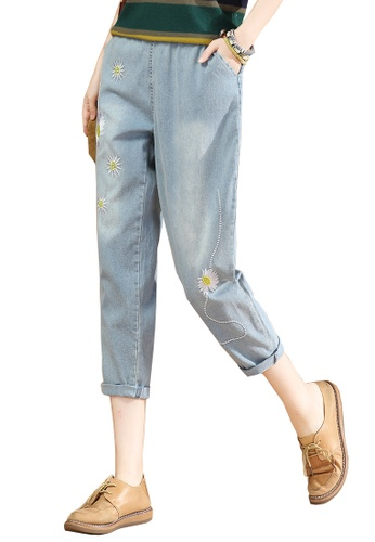 A-IN GIRLS blue Jeans With Elastic Waist 8385CAA4AAF1CBGS_1