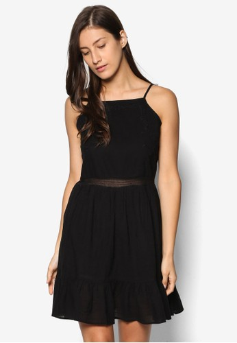 WV Nikita esprit outlet 桃園刺繡網眼要細肩帶洋裝, 服飾, 洋裝