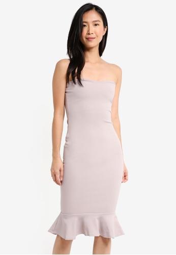 MISSGUIDED purple Bandeau Flippy Hem Midi Dress C6B46AA2CADA90GS_1