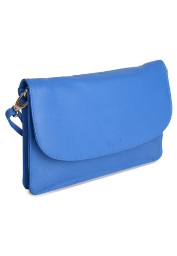 SADDLER blue SADDLER Womens Leather Cross Body Purse Clutch - Detachable Strap -Ladies Sling Bag - Blue EF0DAAC0A152FAGS_1