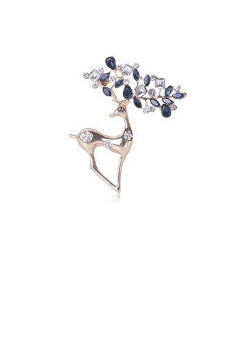 Glamorousky white Fashion and Lovely Plated Gold Elk Brooch with Blue Cubic Zirconia 495D3AC339D5BEGS_1
