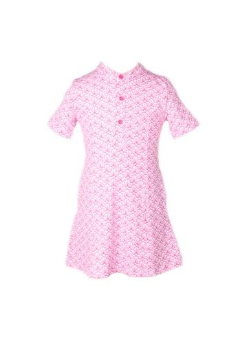 Mini Moley pink Seashell Print Half-Button Down Dress 20CAEKADACC125GS_1