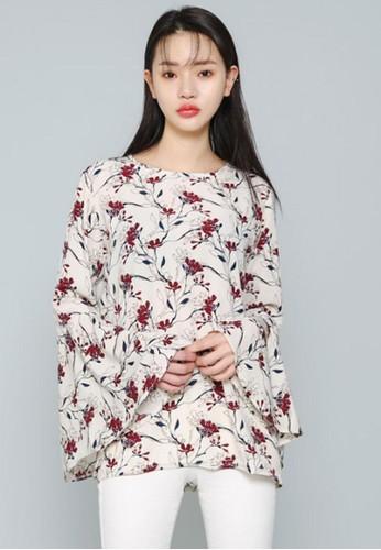 喇叭袖印花襯衣, 服飾,esprit台灣門市 上衣