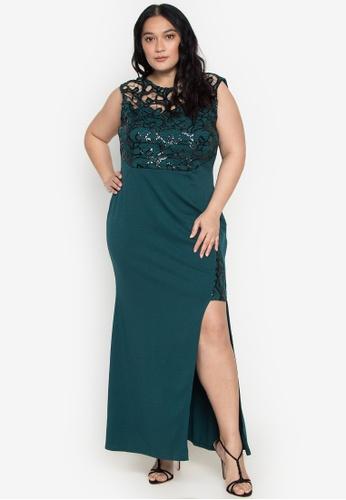 Get Laud Plus green Merzie Maxi Plus Dress BA5BBAAEF8CA0AGS_1