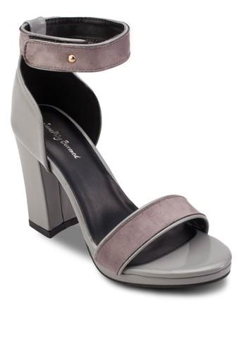 撞esprit香港門市色暗紋繞踝粗跟高跟鞋, 女鞋, 高跟