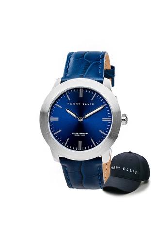 Perry Ellis blue Perry Ellis Slim Line Unisex 42mm Quartz Watch 07001-01 with Perry Ellis Cap F273BAC0F8CD07GS_1