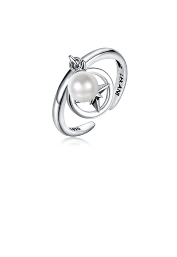 Glamorousky white 925 Sterling Silver Vintage Elegant Fashion Star Adjustable Opening Ring with Non Natural Pearl E2026ACE840BBBGS_1