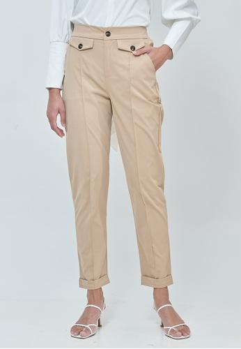MC Vogue beige Daphne Beige Button Straight Pants DFB6DAA2EF4EF6GS_1