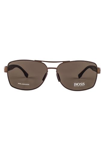 Hugo Boss brown HUGO BOSS Square Brown Polarized Sunglasses 0859FS HU898AC52OVRMY_1