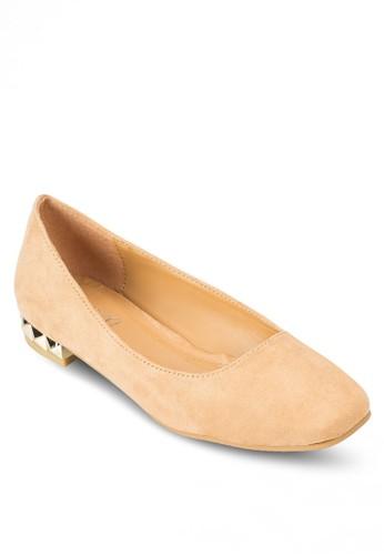 esprit品牌介绍麂皮金屬低跟鞋, 女鞋, 芭蕾平底鞋