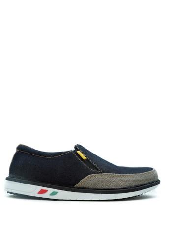 CDE navy Sepatu Slip-on Pria Blue Cream Kasual  82596SH2ADB8BFGS_1