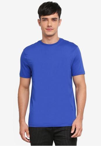 Topman blue Cobalt Blue Slim Crew Tee AD02EAA9DF1D30GS_1