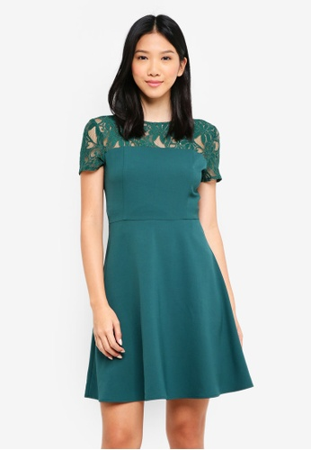 ZALORA green Lace Panel Fit And Flare Dress DDFC0AA825F71BGS_1