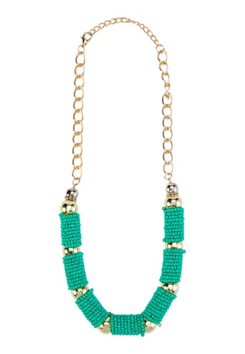 Zolace green and multi and gold Billion Beads Necklace ZO350AC24ANRMY_1