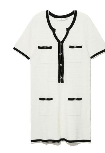 b+ab white Contrast knit dress 2C31BAA23E7A14GS_1