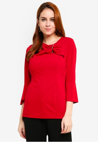peace collections red Bow Pearl Blouse FB7EFAA5118CDEGS_1