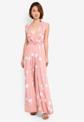 INDIKAH pink Ruffle Neck Jumpsuit With Side Splits 63369AAC14BD85GS_1