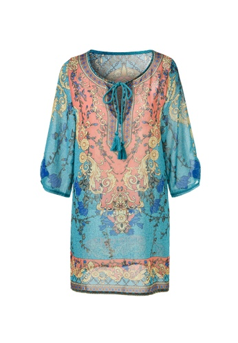 hk-ehunter multi Geometric Pattern V Neck Tassel Ethnic Chiffon Mini Dress CBDB2AAAE176BEGS_1