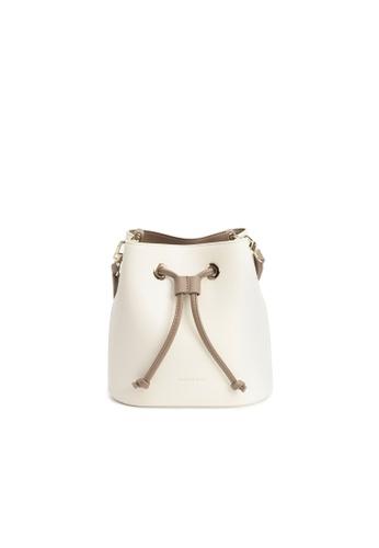 Maverick & Co. white Maverick & Co. Eloise Mini Bucket Crossbody Vegan Leather Bag for Women - Oatmeal 8704EACBB19888GS_1