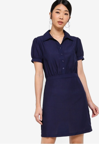 Something Borrowed navy Button Down Fit And Flare Shirt Dress 20B14AACF79D1FGS_1