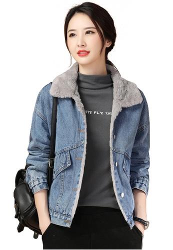 A-IN GIRLS blue Fashion Plus Fleece Denim Jacket 439CBAA36F6A09GS_1