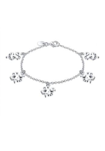 Glamorousky silver Simple Romantic Four-leafed Clover Bracelet 1E370AC6A1A8ECGS_1