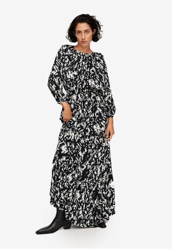 Mango black Printed Long Dress C3308AA06ADCB3GS_1