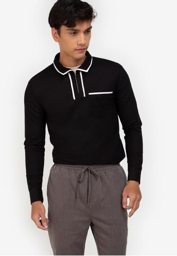 ZALORA BASICS black Contrast Trim Long Sleeve Polo Tee 9FFEDAA072471FGS_1