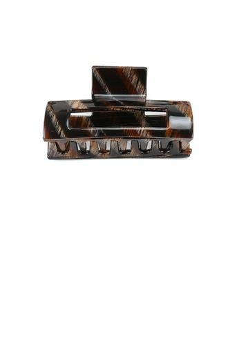 Glamorousky brown Simple and Fashion Brown Striped Geometric Hair Claw 8E633AC8FEAE14GS_1