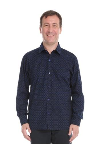 AYAYU black and blue GEOM Men Batik Shirt Long Sleeves - Black Blue BA482AAC3974E1GS_1