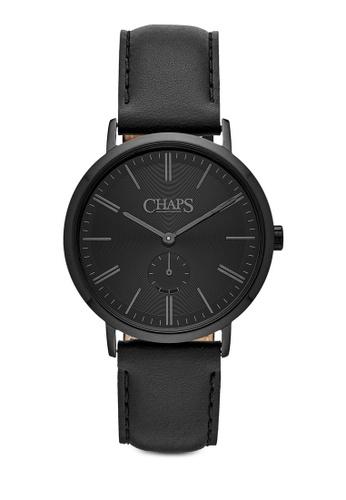 Chaps black Chaps Dunham Black Leather Watch CH325AC55ZDWMY_1