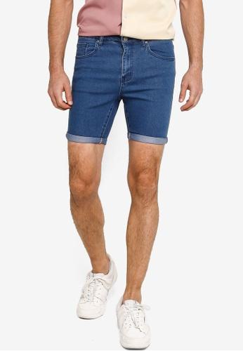 ZALORA BASICS blue Basic Rolled Cuffed Denim Shorts 70A8FAA0307B37GS_1