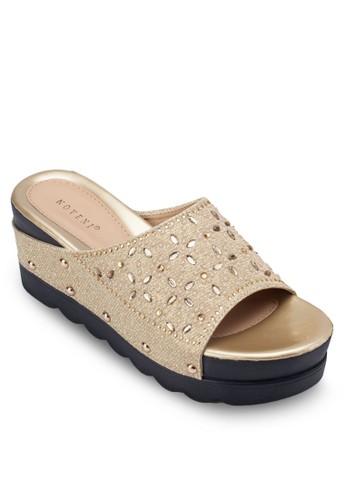 鉚釘閃飾寬esprit童裝門市帶楔形鞋, 女鞋, 楔形涼鞋