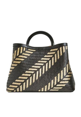 "LINGWU black and grey and white and brown and multi LINGWU Miller Rattan Kelakai 13"" Shoulder Bag F5A4BAC19AC763GS_1"