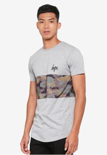 Just Hype grey Camo Panel T-Shirt B89D1AA1859A84GS_1