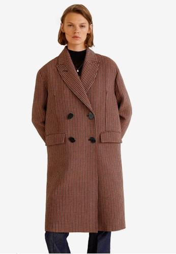 Mango brown Double-Breasted Check Coat 38E25AA4139E95GS_1