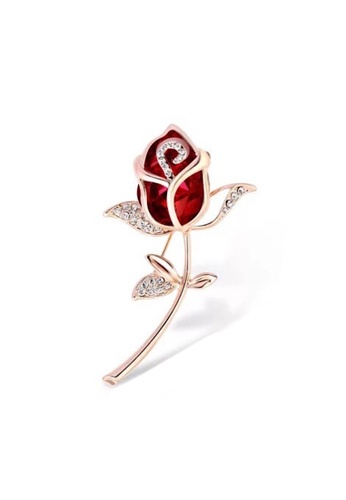 Glamorbit multi Brooch Fashion and Hijab Friendly Plated Gold Red Rose Brooch With Cubic Zirconia 55F53AC7970C91GS_1