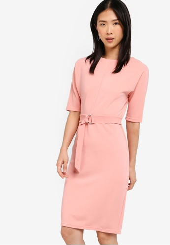ZALORA BASICS pink Basic D-Ring Knee Length Dress 74E12AA3C8E6D6GS_1