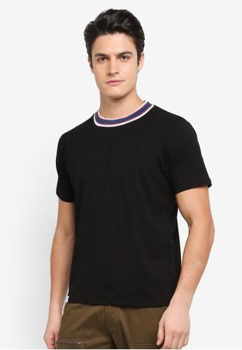 Sparrow Green black Oliver Tipped Collar T-Shirt 5E0C4AA770E3EDGS_1