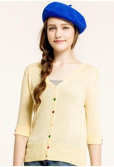 [Mo-Bo] Multi Colored Button Relax V-Neck Cardigan