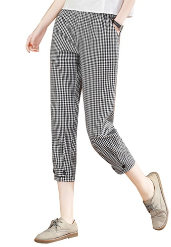 A-IN GIRLS black and white Checkered Trousers With Elastic Waist 605FFAAC68D0B4GS_1
