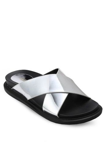 亮面交叉寬帶涼鞋, 女鞋, 懶esprit 台灣官網人鞋