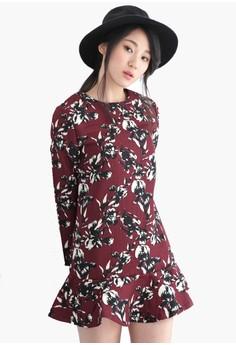 Festive Floral Dropwaist Dress