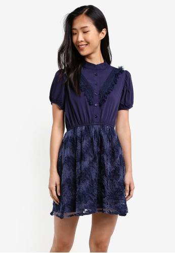 KLEEaisons navy Mini Lace Dress KL492AA0RVP3MY_1