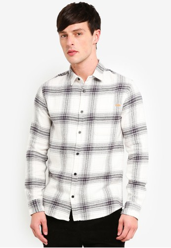 Only & Sons white Checked Long Sleeve Shirt 9244CAAC890F36GS_1