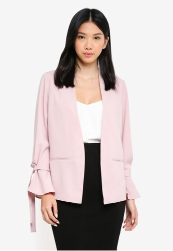 ZALORA pink Casual Tie Sleeve Blazer 5A515AA5263A69GS_1